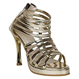 VAGON Misto Women and Girls HIGH Heels Sandals Party WEAR Sandals HIGH Heels Slippers HIGH Heels Formal Sandals with Patent Leather Upper and Synthetic Leather Upper VJ1224 (41, Gold)