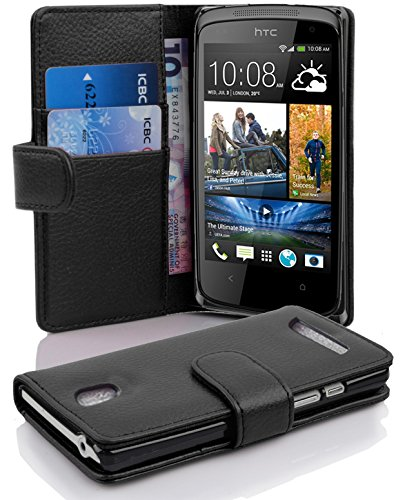 Cadorabo - Book Style Hülle für HTC DESIRE 500 - Case Cover Schutzhülle Etui Tasche mit Kartenfach in OXID-SCHWARZ