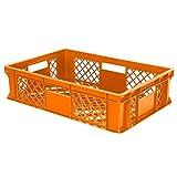 7x Eurobehälter durchbrochen / Stapelkorb, lebensmittelecht, Industriequalität, LxBxH 600 x 400 x 150 mm, orange