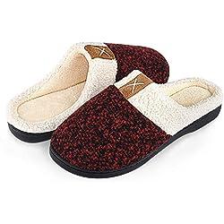 Winter Hausschuhe Damen Herren Wärme Plüsch Bequem Pantoffeln Memory Foam Rutschfeste Home Leichte Slippers für Drinnen und Draußen(Rot,36/37 EU)