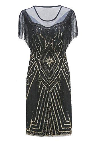 Metme Frauen der 1920er Jahre Perlen Pailletten Fringed Gatsby Thema Flapper Kleid Gatsby Kleid für Party