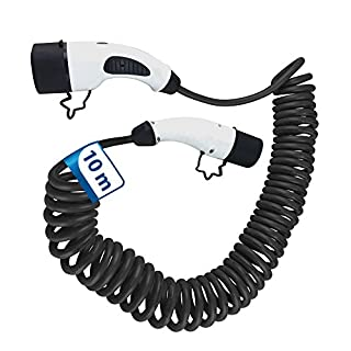 10m Spiral Ladekabel 1 Phasig 230V 7.2kW 32A Typ 2 zu Typ 2 für Wallbox Ladestation Wallbox24