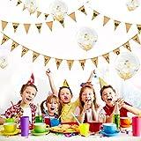 Party Decor, DIY Wimpelkette Hochzeit Vintage Herz Jute Bunting Banner mit 12 Stück Konfetti Ballon Luftballons Golden Party Dekoration 12 Zoll für Geburtstag, Hochzeit oder Party Dekorationen, Hochzeit Geburtstagsfeier und Part Dekorationen