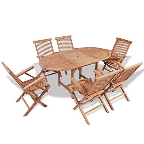 vidaXL Set da Esterno Giardino Pranzo Pieghevole Tavolo 6 Sedie in Legno di Teak