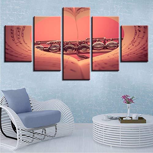 Pmhhc Hd Bilder Artwork Druck Dekoration Modernes Zuhause Wohnzimmer 5 Stücke Musik Notizbuch Leinwand Malerei Poster Modulare Wandkunst-10X15/2/25Cm,With Frame