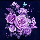DIY 5D Diamond Painting, Crystal Rhinestone Diamond Embroidery Paintings Pictures Arts Craft for Home Wall Decor Purple Rose 11.8 X 11.8 Inch