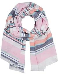 GANT Damen Schal O. Multistripe Cotton Linen Scarf Rosa (Bright Pink 664), One Size (Herstellergröße: ONE)