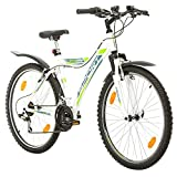 Multibrand, PROBIKE SPORT, 26 pulgadas, 380-500 mm, Mountain and City Bike, 18 velocidades, Unisex, guardabarros delantero y trasero, blanco mate (460)