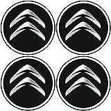 TEILE-24.EU Malinowski Radnabenkappen CITROEN Embleme Felgen Aufkleber Logo Nabendeckel Nabenkappe Radkappe 4 x 56 mm .Farbe: schwarz/chrom