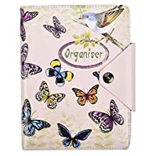 Arpan A5 Executive Personal Organiser Ruled Notebook Padded Leather Cover with Stud Button Closure 100 Sheets 80g Cream Paper Ring Binder (Vintage Butterfly)