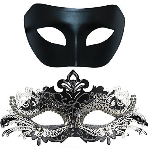 Paar Maskerade Metall Maske, venezianischen glänzenden Strass Halloween Kostüm Party Maske (2 Stück) (Schwarz & Schwarz-Silber) (Paar 2 Halloween-kostüme)