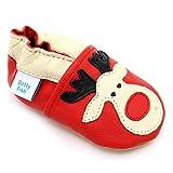 Dotty Fish Weiche Baby und Kleinkind Lederschuhe. Rotes Rentier. Mädchen und Jungen. 0-6 Monate (18 EU)