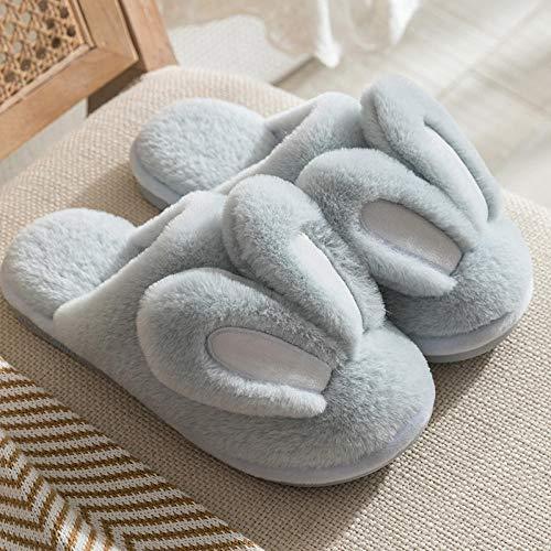 Nwarmsouth foam ciabatte antiscivolo caldo da casa,pantofole di cotone del fumetto femminile di inverno, scarpe di cotone antiscivolo calde della peluche della casa-39-40_b azzurro