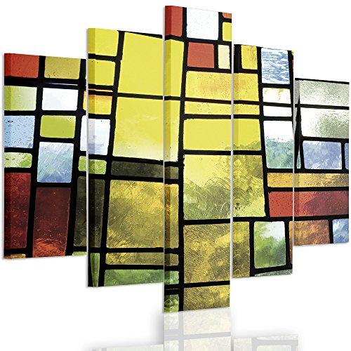 Feeby Frames, Quadro multipannello di 5 pannelli, Quadro su tela, Stampa artistica, Canvas Tipo A, 70x100 cm, ASTRAZIONE, GEOMETRIA, PIAZZE, VETRATE, GIALLO, VERDE
