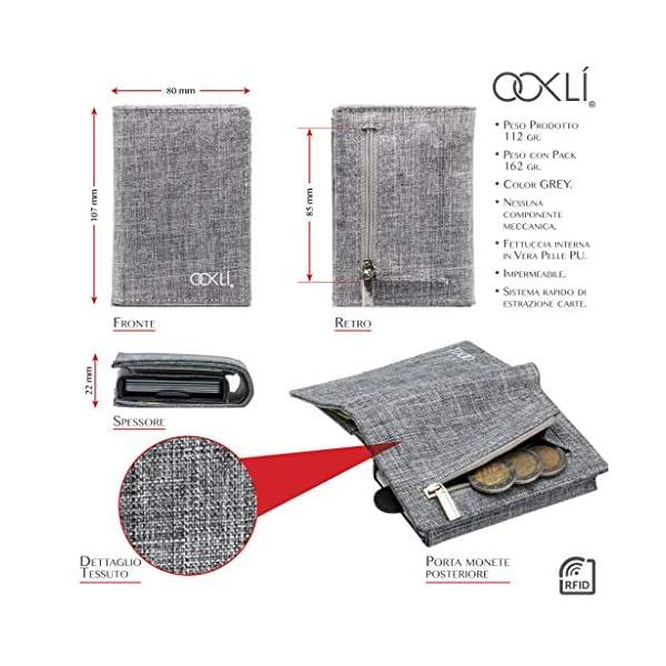OOKLÍ Porta Carte Di Credito RFID Schermato Portamonete Design Unico Mini Portafoglio Uomo Slim Wallet Verticale Porta… 3 spesavip