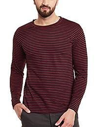 Hypernation Red And Black Stripe Round Neck Cotton T-shirt For Men
