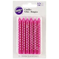 "Birthday Candles 3"" 12/Pkg-Pink W/White Dots"