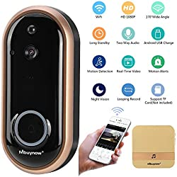 Interphone de Porte, Mbuynow 1080P HD Sonnette Vidéo sans Fil Intelligente avec Système Audio Bidirectionnel, Détection de Mouvement PIR et Caméra Vision Nocturne Compatible avec iOS Android Or