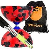 Juggle Dream Jester Diabolo Set (Rosso/Nero), aste di alluminio (corda inclusa) e borsa da viaggio Firetoys