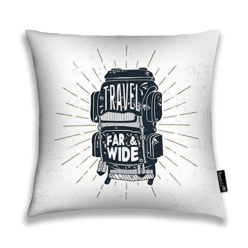 Randell Decorative Throw Pillow Case Vintage Camper Backpack Words Travel Far Wide Retro Silhouette Rucksack Cushion Cover Square 18 X 18 Inches -