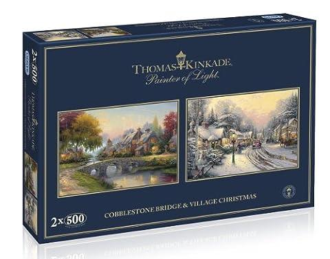 Pflastersteinbrücke & Dorfweihnacht Thomas Kinkade 2x500 Teile Puzzle Set Gibsons