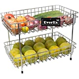 EverEx™ Stainless Steel 2-Tier Fruits & Vegetable Trolley / Basket For Kitchen ( Multipurpose Kitchen Storage Shelf Rack)