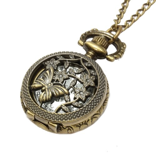 Damen Quarzuhr Umhängeuhr Taschenuhr Halskette Uhr Ketteuhr Legierung Hohl TOP