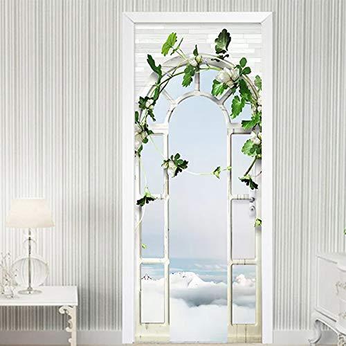 YOYODECOR Door Posters Wohnkultur Tür Aufkleber 3D Stereo Palace Arch Garten Tapete Wohnzimmer Hochzeit Haus Wandaufkleber DIY Wandbilder
