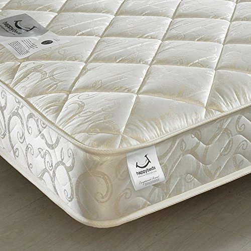 Happy Beds Ellie White Wooden Bunk Bed and Trundle Guestbed with 3x Spring Mattresses 3' Single 90 x 190 cm
