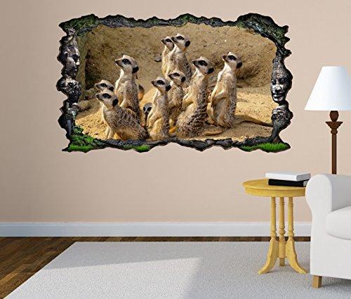 3D Wandtattoo Erdmännchen Afrika Wüste Surikate selbstklebend Wandbild Tattoo Wohnzimmer Wand Aufkleber 11L1959, Wandbild Größe F:ca. 162cmx97cm