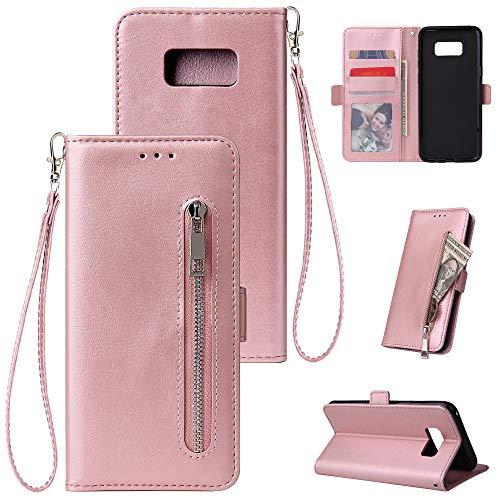 HUDDU Kompatibel mit Handyhülle für Samsung Galaxy S8 Hülle Leder Wallet Schutzhülle Kartenfächer Reißverschluss Brieftasche Magnetverschluss Filp Tasche PU Case Ständer Wristlet Rose Gold -