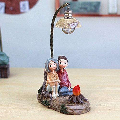 Resin Craft Paar Charakter Dekoration Kreative Junge Mädchen Night Lamp Bonfire-Ehepaar Lampe