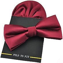 PenSee–seda sólido PRE-TIED tarjeta de lazo corbata & pañuelo set–varios colores
