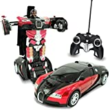 Kids RC Transforming Robot Toy Red Autobots Remote Control (27 MHz) Sports Car With One Button Transformation, Realistic Engine Sounds 1:14 Scale Assorted 1Piece
