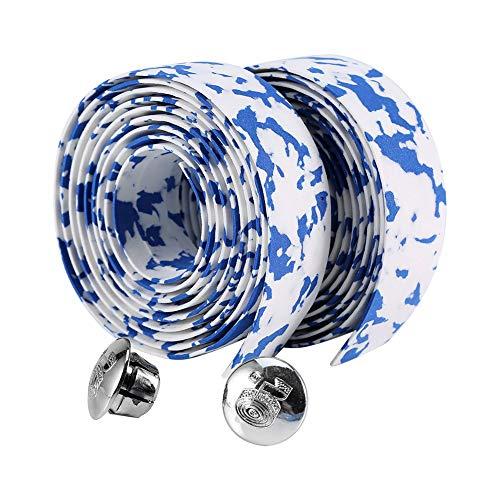 Naroote Radfahren Reflective Grip Wrap Tape, Rennrad Fahrrad Lenkerband + 2 Bar Plugs(Blau + Weiß) (Gepolsterte Lenkerband)
