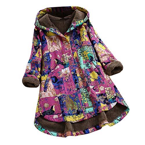 Alwayswin Zweiteiliges Frauen Wintermantel in Übergröße Vintage Print Strickjacke Langer Mantel mit Kappe Knopf Plus Samt Mantel Warme Jacke Elegant Warme Outwear Cardigan Jacken