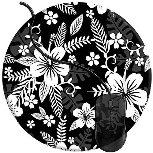 Mauspad Hawaiian Black, Runde Gaming Mauspad Matte Reibungslos Weich Rutschfester Gummi Basis für PC Laptop 1U21 (Maus-pad-hawaiian)
