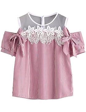 Yeamile💋💝 Camiseta de Mujer Tops Suelto Blusa Causal Camisetas Ocasionales Moda Blusa a Rayas de Manga Corta...