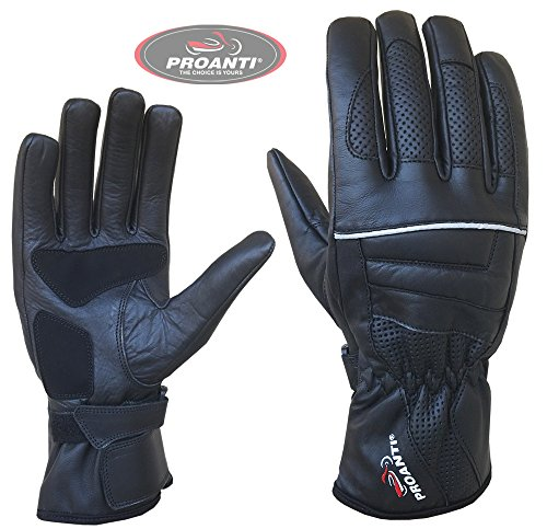Sommer Motorradhandschuhe von PROANTI Leder Motorrad Handschuhe Größe L
