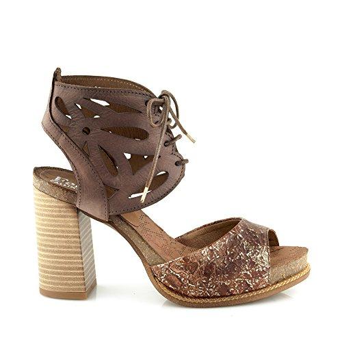 Felmini - Damen Schuhe - Verlieben Epsilon A075 - Hohe Fersen Schuhe - Echtes Leder - Braun Braun