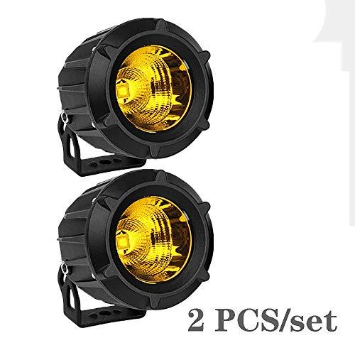 Aione Proiettore da 35 W per Moto ad Alta Potenza 3500LM LED Faro Antipolvere IP68 Moto Impermeabile LED Faretto per Moto da Strada Motociclisti Macchine per Camion,Yellow