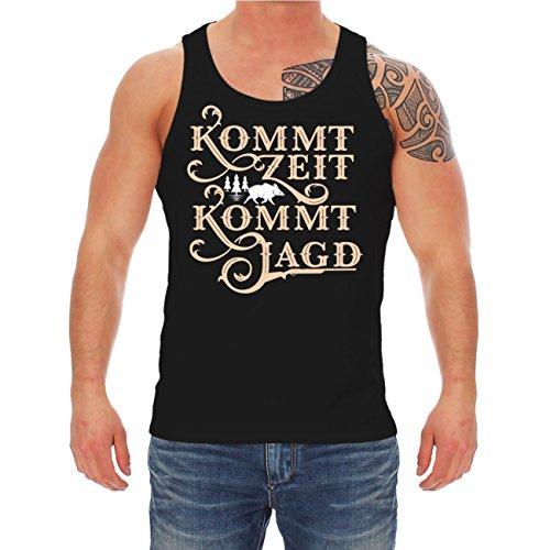 Männer und Herren Trägershirt Kommt Zeit kommt Jagd (mit Rückendruck) Schwarz