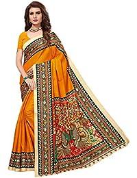 JENCY FASHION Kalamkari Silk Saree With Blouse (MUSTARD)