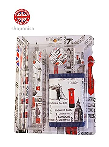 London Icons Design Pencil Case Stationery Kit of 5 Items