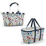 Schönes reisenthel Einkaufsset 2tlg. Bestehend aus reisenthel carrybag/Einkaufskorb und reisenthel coolerbag/Kühltasche in Dem Trendigen Dekoren (Millefleurs)