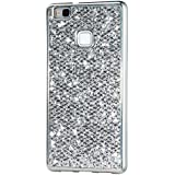 KSHOP Case Cover Accesorio para Huawei P9 lite Funda cáscara trasera TPU Silicona Suave Flexible Plata Brillante Bling del Brillo Reluciente Lujo Con Bumper Parachoque Enchapado Plata
