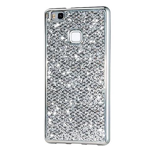 KSHOP Hülle für Huawei p9 lite, Weiche Silikon TPU Silber