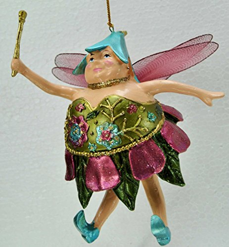 Dicke Elfe, Fee, Deko Hänger, grün, pink, 15 cm