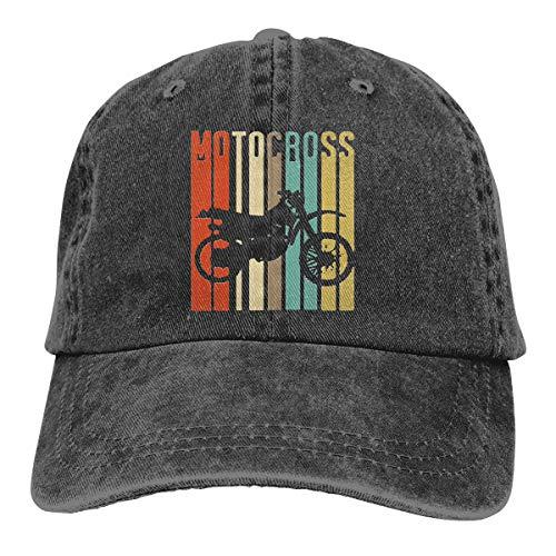 Amoyuan Vintage Motocross Bike Unisex Washed Cotton Baseball Cap Vintage Verstellbar Dad Casquette Trucker Hut Schwarz
