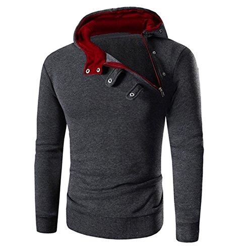Herren-vintage-pullover Mit V-ausschnitt (Sunnywill Herren Langarm Sweatshirt Hoodie Pullover Jacke Mantel Outwear (L, Rot))